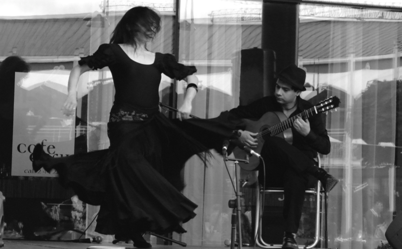 Flamenco dancer and guitarist performing in front of a window.
