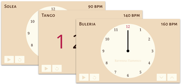 Illustration of three flamenco metronome application windows