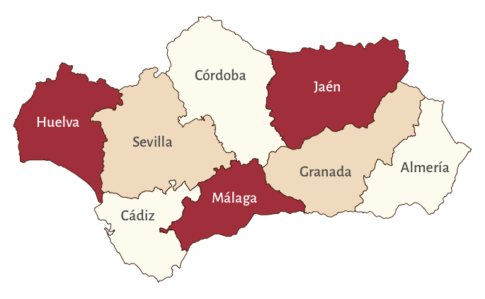 Map of Andalucia divided into provinces