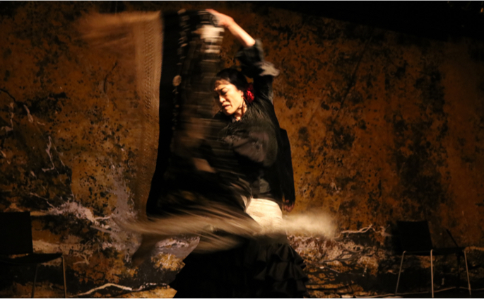 Flamenco dancer with a manton (shawl) in motion against a textured stone background.