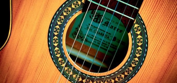 close up of a flamenco guitar rosette
